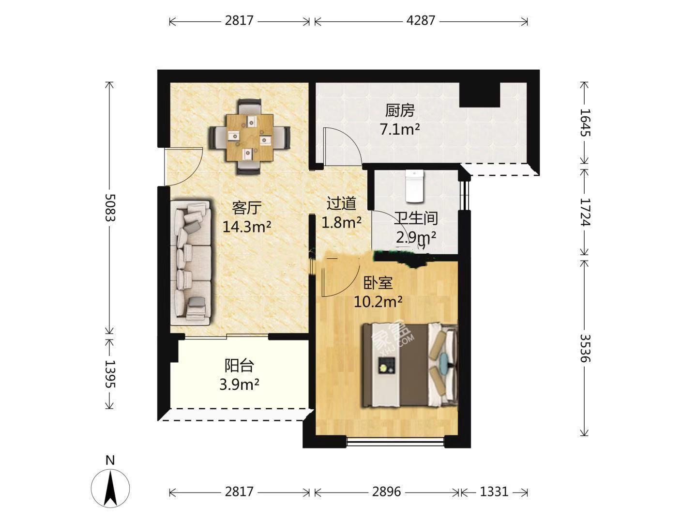 蓝光COCO蜜城  2室2厅1卫    2600.0元/月