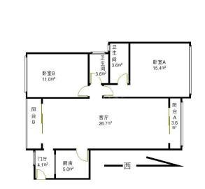 中铁丶西子香荷  2室2厅2卫    230.0万