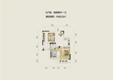 翡翠云天  2室2廳1衛    2000.0元/月