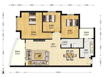 华府世家  2室2厅1卫    162.0万