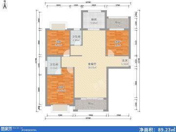 水榭花城西城(一期,二期)  3室2厅1卫    2800.0元/月