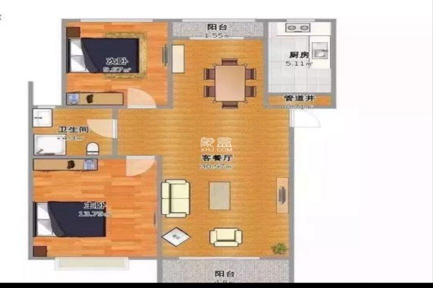 恒大绿洲  2室2厅1卫    1800.0元/月