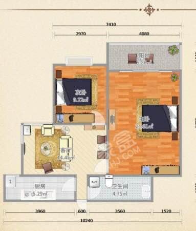 紫郡长安  2室2厅1卫    105.0万