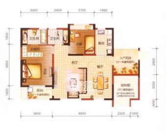 湖景房   鳳凰城二期 南北通透3房2衛可居家、辦公、做宿舍