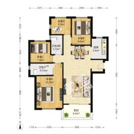 金地艺境  4室2厅2卫    275.0万