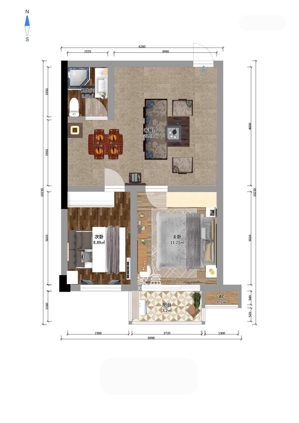 将爱公寓  2室1厅1卫    69.0万