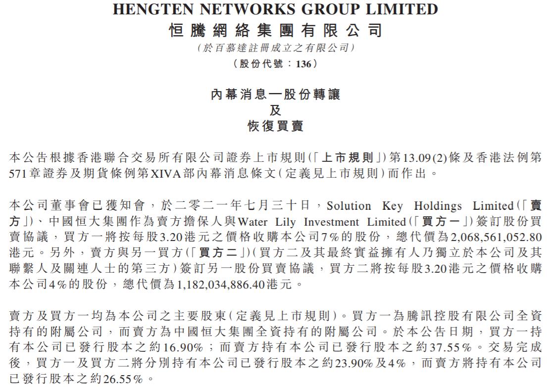 恒大32.5亿港元出售恒腾网络11%股权,腾讯接盘7%