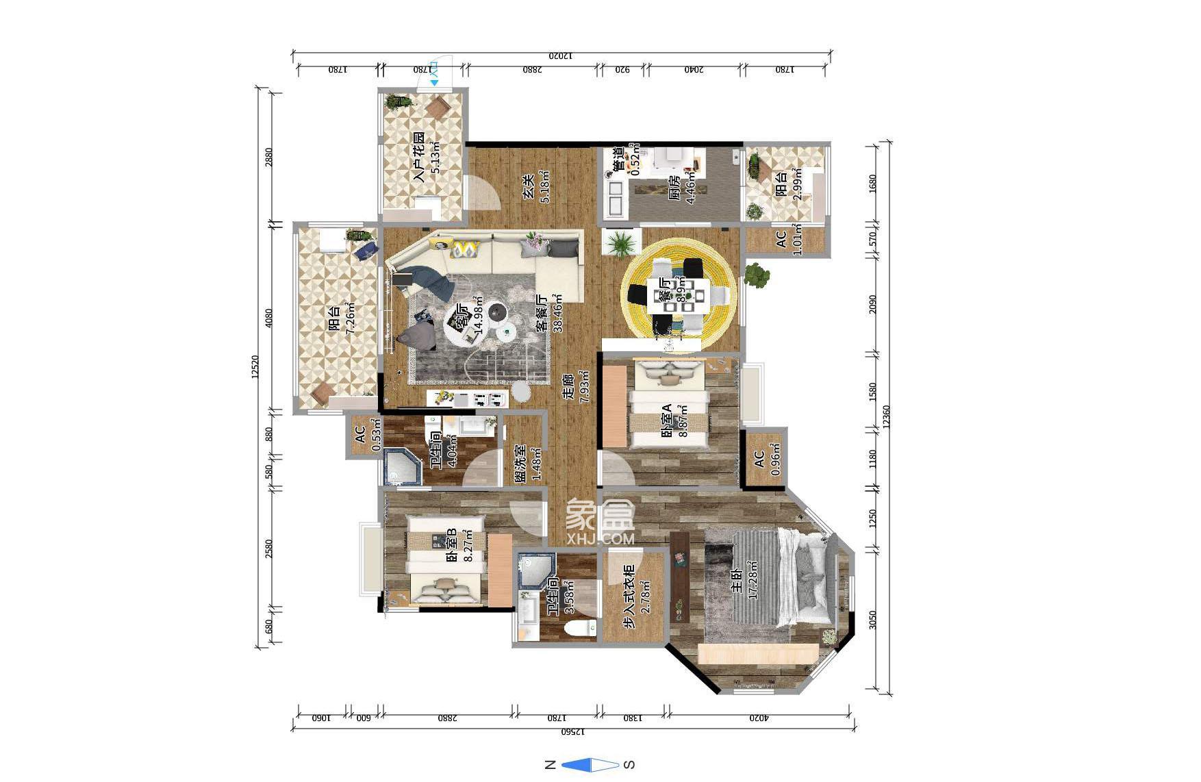 江山帝景  3室2厅1卫    125.0万