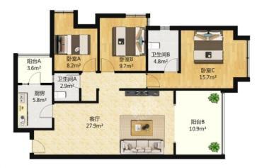 中信城佐岸  3室2厅2卫    155.0万