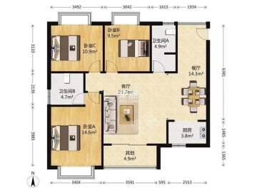 新的亚米国际  3室2厅1卫    2300.0元/月