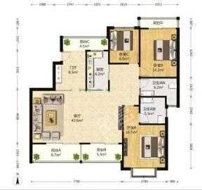 时代尊城  3室2厅2卫    350.0万