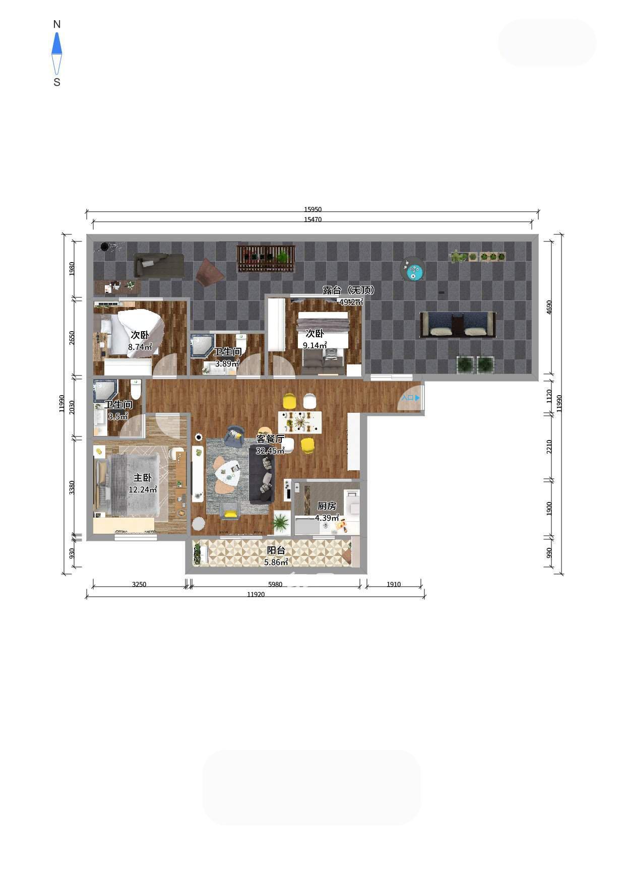 高林世家帶露臺小三房 使用面積大 裝修差不多全新