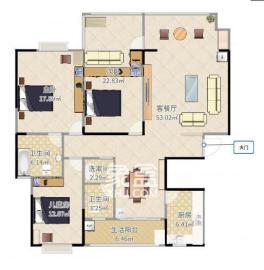 金质嘉苑  3室2厅2卫    2500.0元/月