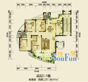 藏瓏湖上國際花園  4室2廳2衛    3500.0元/月
