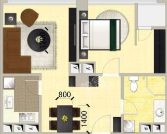 南湖国际4期  1室1厅1卫    1600.0元/月