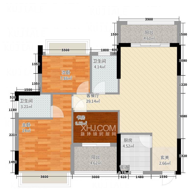 宝圆财富广场  3室2厅2卫    85.0万